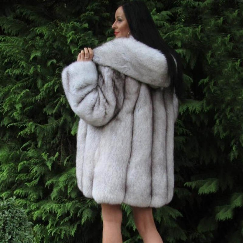 Winter Fashion Thick Warm Fur Coats For Female Especially Vertical Style Blue Fox Fur Jackets With Plus Size Hoods Outer Garment