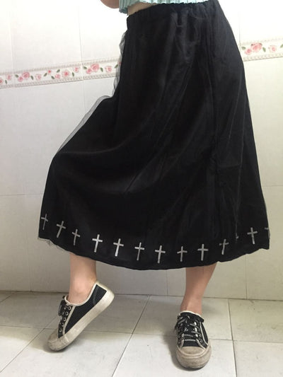 e66d448fe5038 Japan Kawaii Lolita Mori Girl Love Gothic Print Patchwork Lace Yarn Long  Skirt High Waist Boho