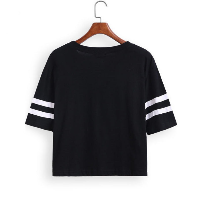 Fashion Crop Top T-shirt for Women BROOKLYN 76 Printed T Shirt Women Cropped Tops Tee Shirt Woman Clothing High Quality