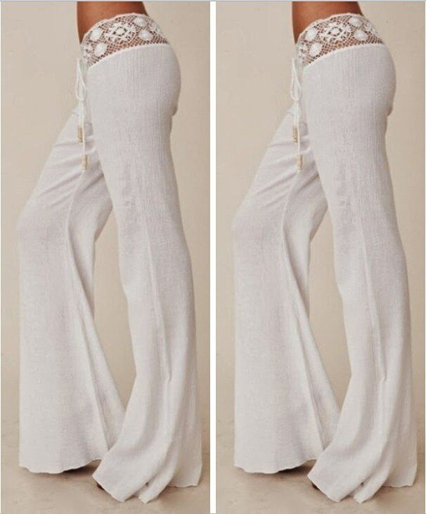 2016 New summer Women Sexy white Lace loose pants Wide Leg long pants Elegant long pants Women Trousers Drop Shipping