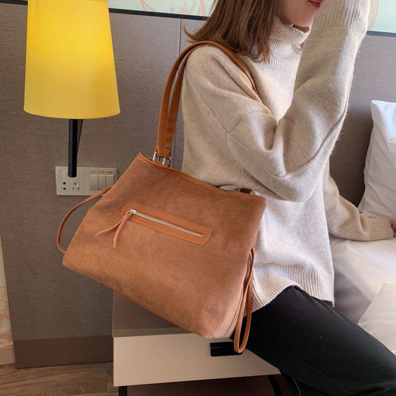 2019 Vintage Women's Bag Shoulder Female Luxury Corduroy & PU Leather Messenger Bag Crossbody Ladies Hand Bags for Women sac