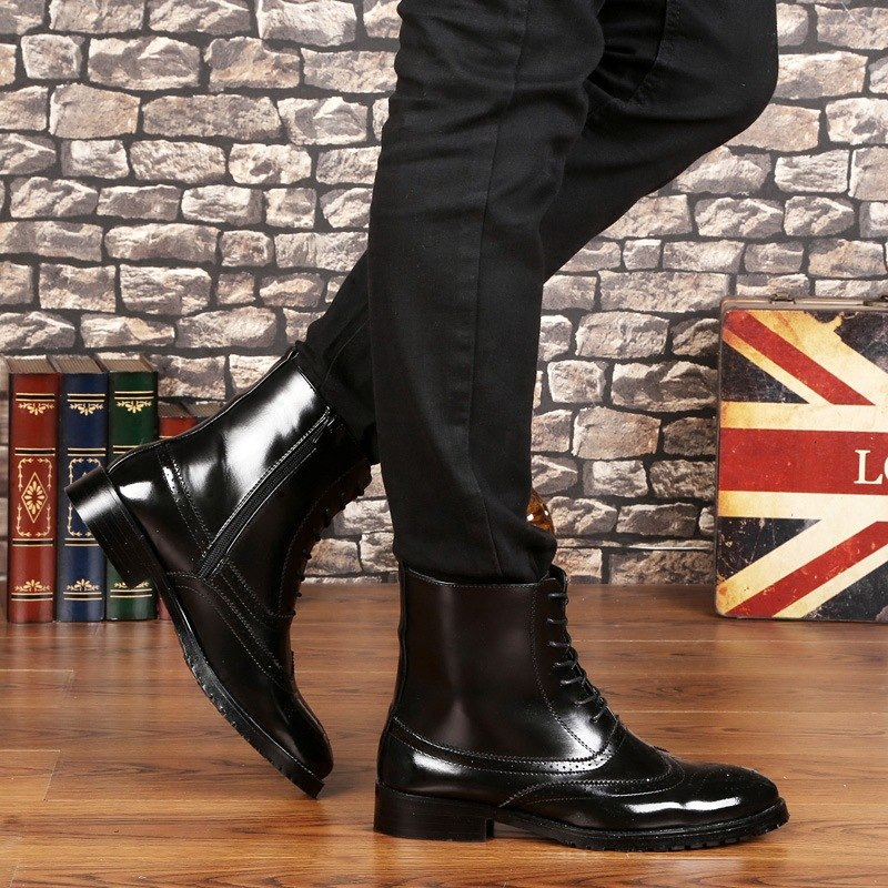 BACKCAMEL Brand Men Leather Boots Bullock High Men's Boots British Style Solid Black Lace Up Motorcycle Boots Top High Quality