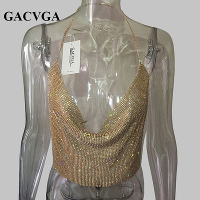 d3e9f42c2223b GACVGA 2018 Handmade Crystal Tank Top Sexy Backless Summer Beach Women Crop  Top Halter Camis Metal Bralette Ladies Croped Tops
