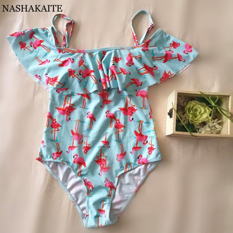 NASHAKAITE Mommy and me swimsuit Flamingos Print mae e filha Swimsuit mother daughter tal mae tal filha placa mae