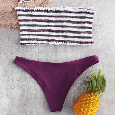 MUQGEW 2PC Striped Strapless Bikini Set Bathsuit Women Sexy Swimwear Bikini Suit Stripe Push-Up Padded Bathing Beachwear #1219