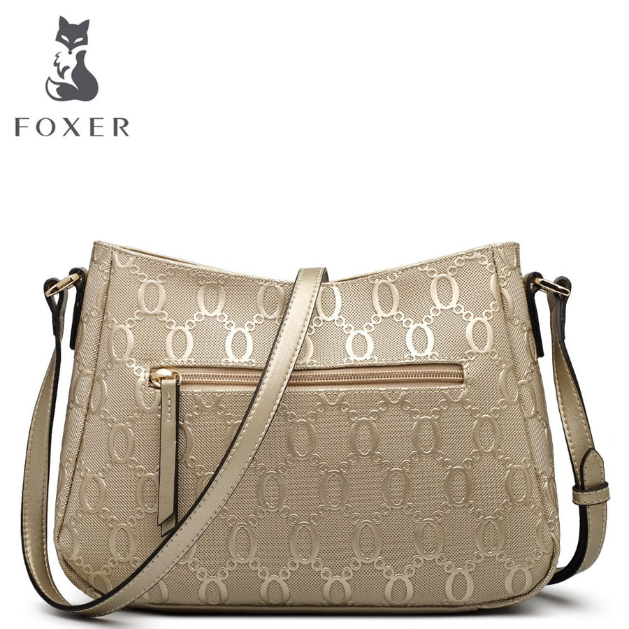 FOXER Brand Women's bag Fashion Chain embossing Cow Leather Crossbody Bag Messenger Bag for Women Female Shoulder Bags