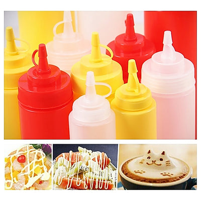 1Pc 8-24 OZ Squeeze Bottle Condiment Dispenser Ketchup Mustard Sauce Vinegar New  UpCube- upcube
