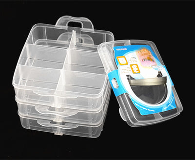 1PC 4 Colors New square small three layer insert detachable tidy storage box portable transparent plastic PP box J0673  UpCube- upcube
