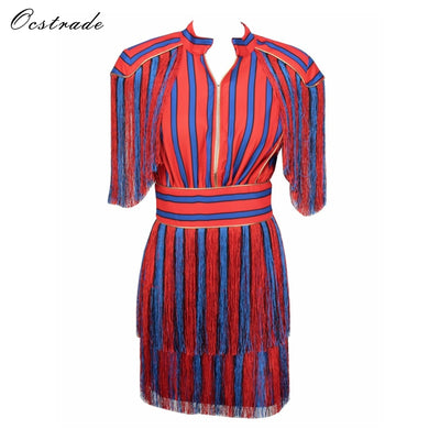 Ocstrade 2017 New Summer Women Dress Fashion Short Sleeve Tassel Red and  Blue Striped Mini Evening 1186e1d8b46d
