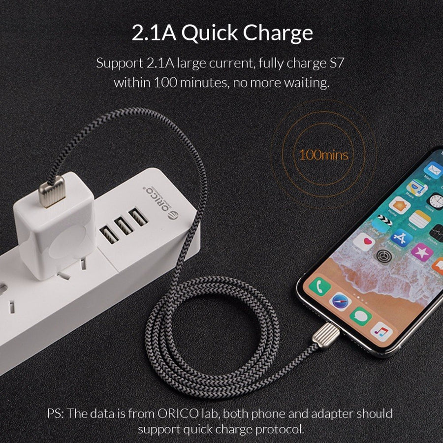 ORICO KTM2 USB Cable 2.1A Charging& Data Sync Cable Charge for Huawei P20 Fast Charger Adapter for Mobile Phone & Tablet