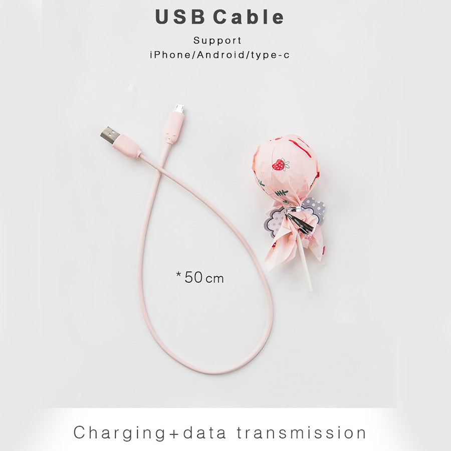 ELFTEAR Lolipop USB Cabl 2.4A TPE Fast Charge USB Data Cable for Samsung Xiaomi LG Tablet Android Mobile Phone USB Charging Cord