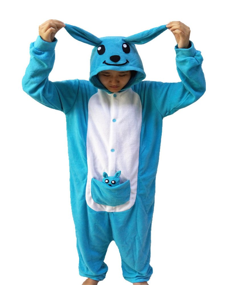 2018 New Blue Kangaroo Onesie Novel Girls Jumpsuit Pyjamas Nightgowns Women Sleeve Pajama Long Sleeve S-XL Chinese Market Online