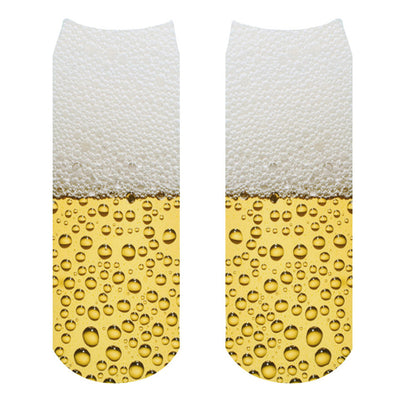 1pair/pack 3d colorful cartoon beer Charactor Unisex Socks Hot women's unisex socks Polyester Fashion 19*8cm Women Socks  dailytechstudios- upcube