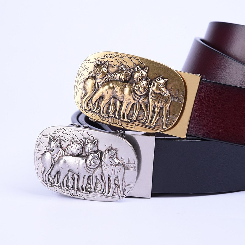 Wolves 3D Sculpture Genuine Leather Belts For Men Male Luxury Design Auto Alloy Buckle/ Brass Buckle Classic West Cowboy Strap