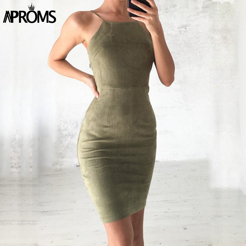 Aproms Sexy Backless Lace Up Suede Dress Women Sundresses Summer 2018 Sleeveless Slim Bodycon Club Wear Dresses robe femme 11036