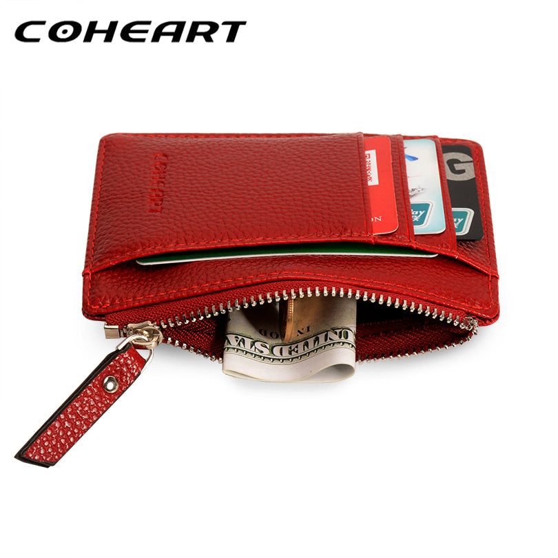 89e1f18824 COHEART Card Wallet Leather Purse Small Ultra-thin Wallet Women Card Holder  Female Purse Coin Bag Mini Top Quality Promotion !