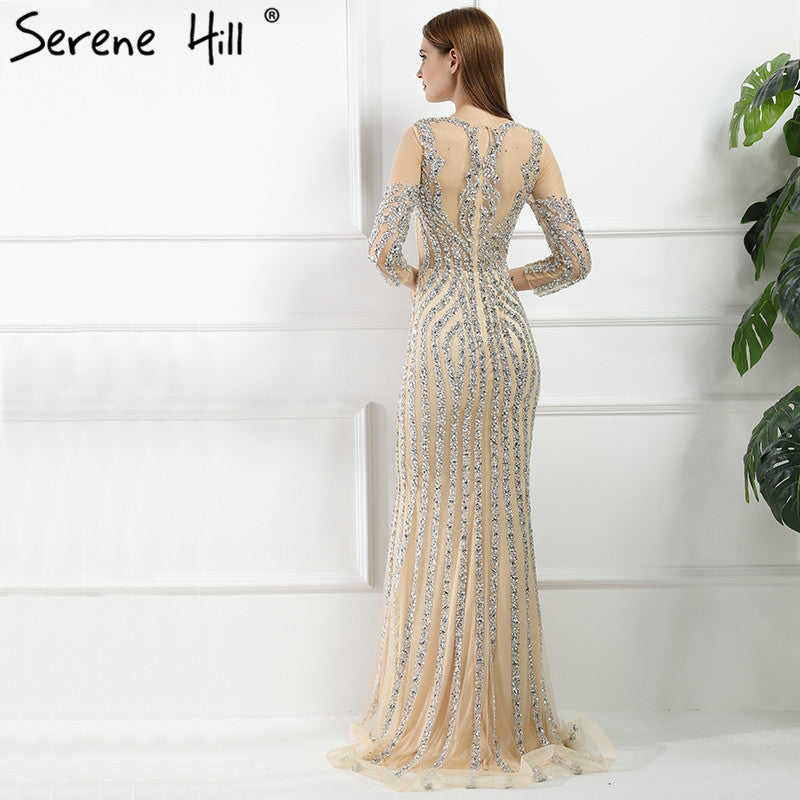 2cfd5afcc5 Luxury Long sleeves Sexy Diamond Sequined Mermaid Evening Dresses Sparkly  Evening Gown 2018 Real Photo LA6078