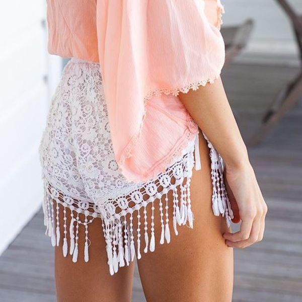 Women summer short pants Crochet Lace Shorts White Casual Tassel Elastic Waist Slim sexy Hot Shorts Drop Shipping