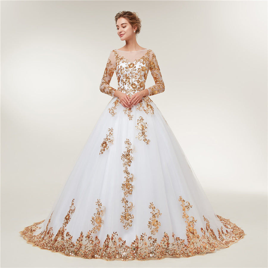 Fansmile Long Sleeve Golden Lace Vestido De Noiva Wedding Dresses 2018 Train Custom-made Plus Size Bridal Wedding Gowns FSM-404T