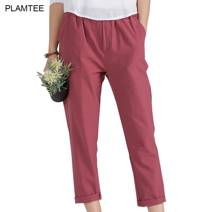 05fbf6fa44 Womens Linen Trousers with Elastic Waist Pants Solid Plus Size 5XL Pantalon  Femme All Match New