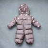 0-2 years old baby winter down jumpsuit Down climb clothes with cap Snowflakes stripe splicing - upcube