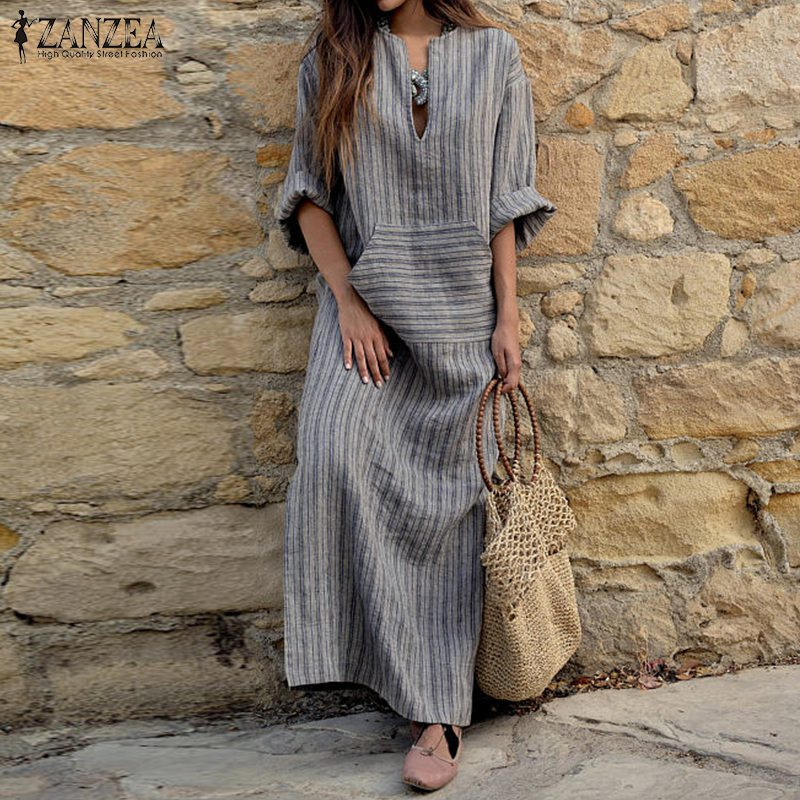 d285d9ae37ce0 2018 Autumn ZANZEA Women Striped Dress Sexy V Neck Long Sleeve Maxi Long  Dresses Vintage Casual