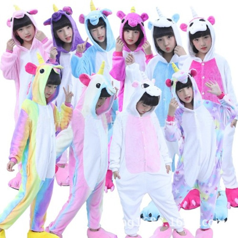 Children Pajamas Unicorn Winter Cartoon Animal Pyjama Flannel Nightgown Onesie Kids Girls Blanket Sleepers Cosplay Costume 4-8Y