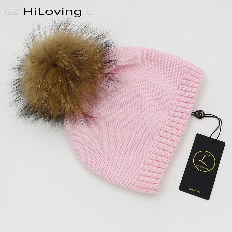 GZHilovingL 2017 New Baby Boys Girls Kids 100 Cotton Knitted Beanies With Real  Fur Pompom Soft 382c035589c3