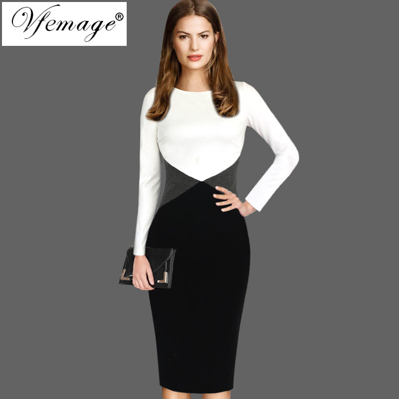 a6be652954ba Vfemage Womens Autumn Winter Contrast Color-Block Patchwork Wear To Work  Office Business Party Bodycon Pencil Sheath Dress 8302