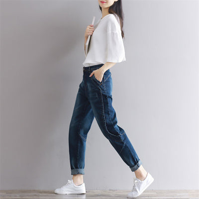 b19d871966aae Weweya Boyfriend Jeans Harem Pants Women Trousers Casual Plus Size Loose  Vintage Denim Pants High Waist