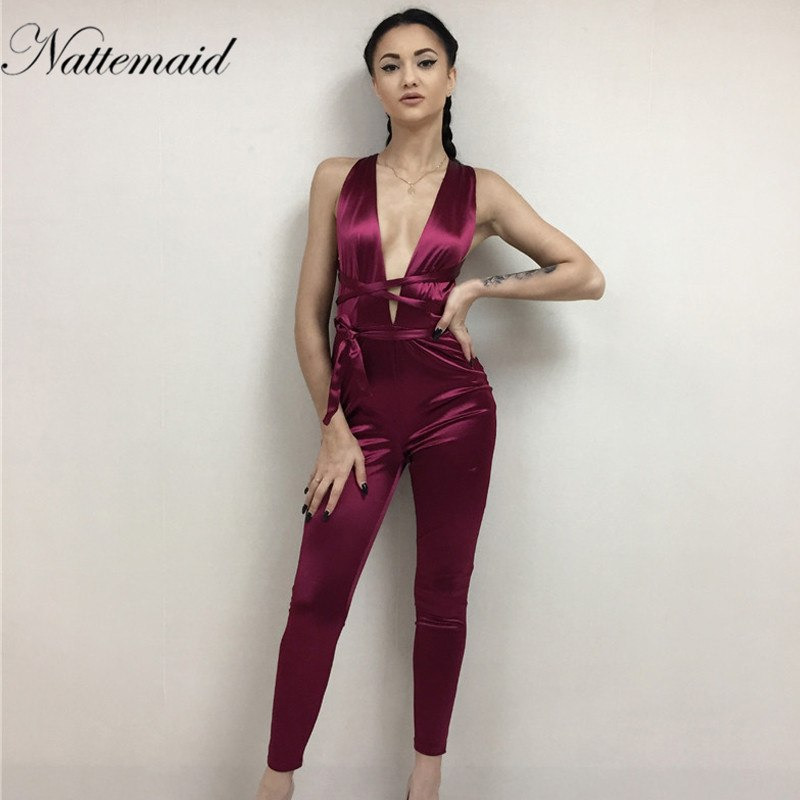 8941d57bc195 NATTEMAID 2017 Women jumpsuit summer sexy red bodycon Rompers Deep v neck  bandage jumpsuits Long pants