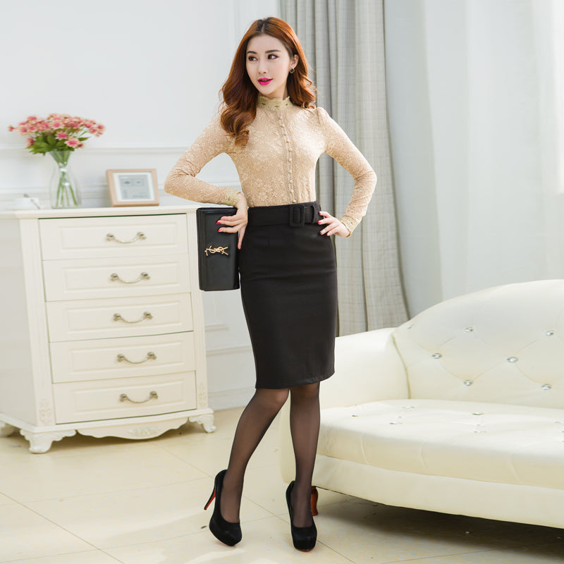 f8c85f126a6a1 TingYiLi Winter Woolen Midi Skirt Plus Size Office Ladies Pencil Skirt With  Slit Wine Red Gray