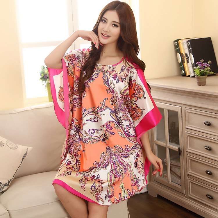 Summer New Chinese Style Satin Robe Dress Women's Sexy Loose Nightgown Sleepwear Vintage Kaftan Bathrobe Gown Plus Size