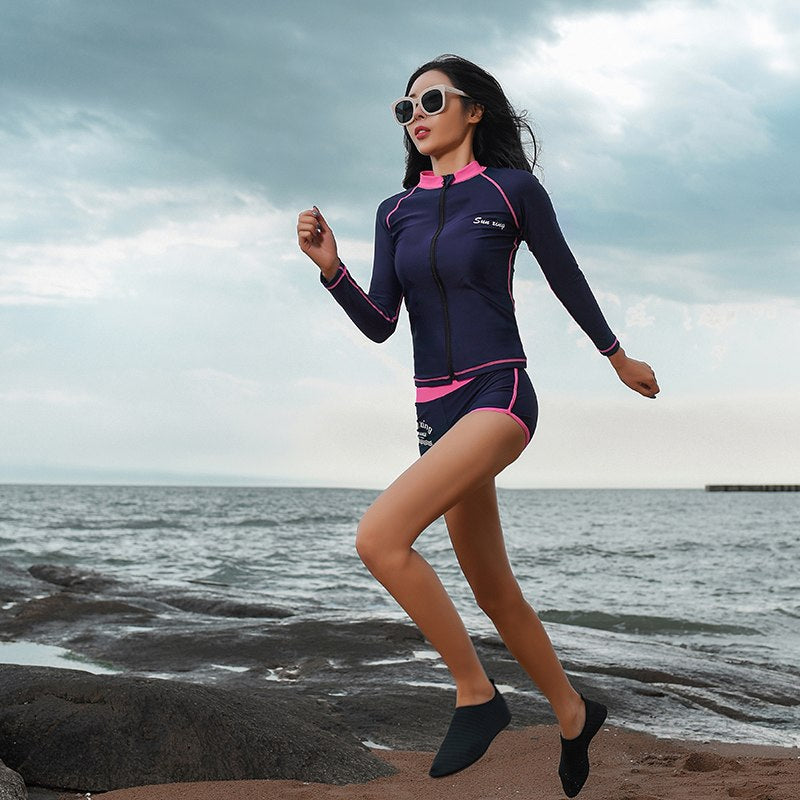 Women's Swimming Suit Three Pieces Set Protection Swimwear Long Sleeve Female Navy Blue Bathing Swim Suit Women Beach Wear