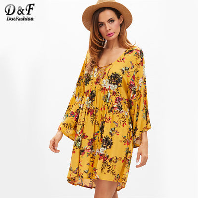 Dotfashion Lace Up Boho Dress Women Yellow Floral V Neck Bell Sleeve Beach  Summer Dresses 2017 6d65a734abac