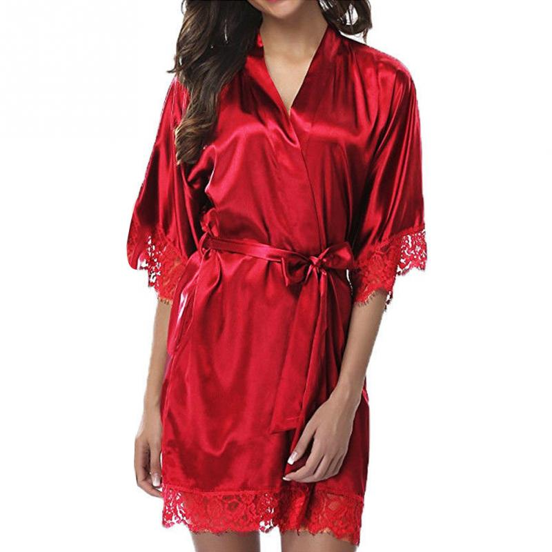 Hot Sell Women Robe Female Nightgown Sexy Lace Stitching Lace-up Half Sleeve Short Sleepwear Ladies Soft Solid Color Nightdress