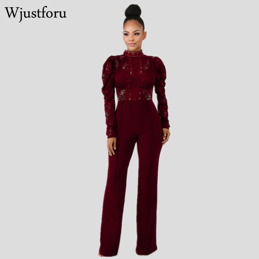 0bd069ad3f3b80 Wjustforu New Wide leg Lace Bodysuit For Women Fashion Long Sleeve Elegant  Jumpsuit Female Black Casual