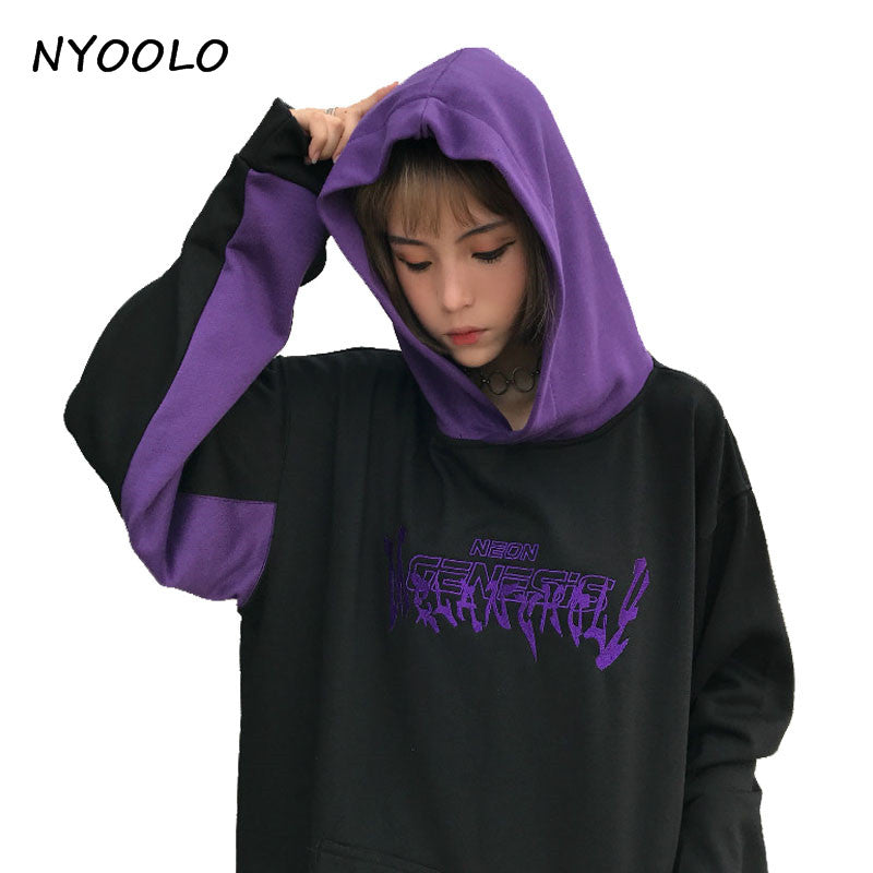 NYOOLO Harajuku streetwear Hoodies letters patchwork embroidery long sleeve  pullover Hooded Sweatshirt women men clothing c34d3bfe1570