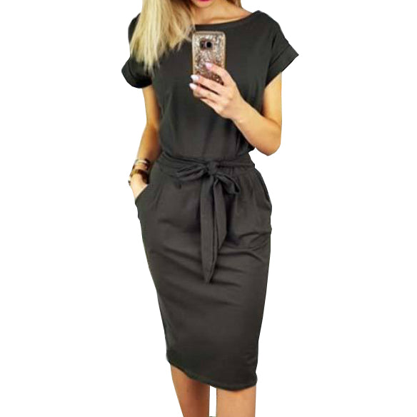 4afd979970 2018 New Summer Women Dress Knee-Length Sexy Bandage Bodycon Dress Short  Sleeve Casual Dresses