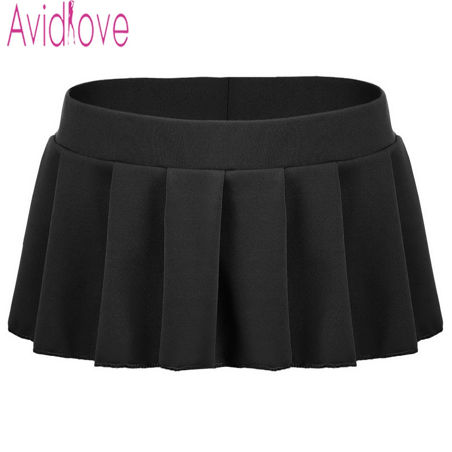 Avidlove Brand Women Sexy Mini Skirts Casual Solid Pleated Micro Skirt Sexy Summer Short Skirts Black White Pink Blue Plus Size