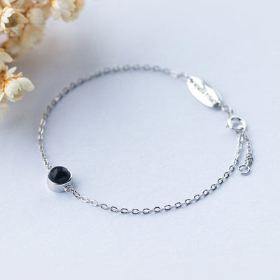 1pc 925 Sterling Silver jewelry Round Black Agate/ White Agate Chain bracelet adjustable LS181  dailytechstudios- upcube