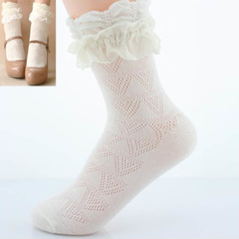 1Pair Sweet Women Lace Ruffle Ankle Sock Soft Comfy Cotton Elastic Mesh Knit Frill Trim Ankle Socks Wholesale Newest