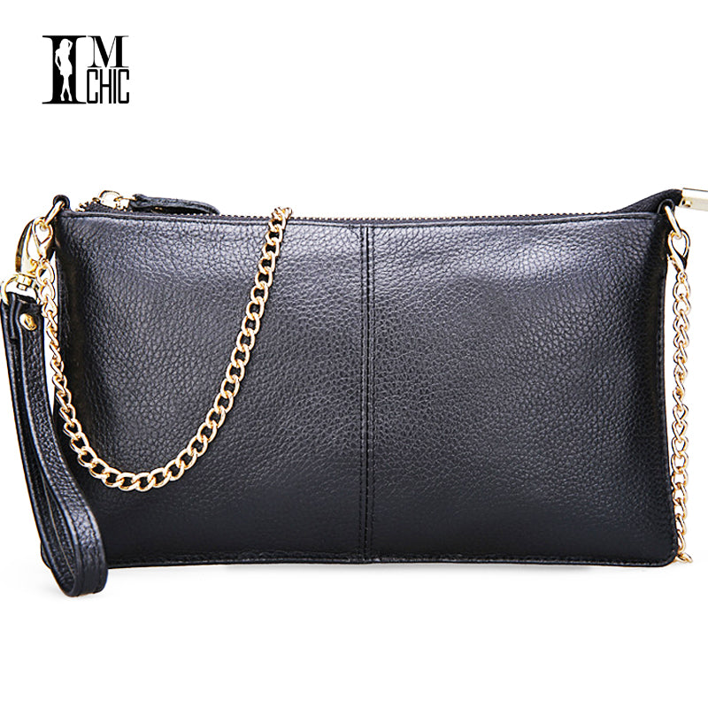 Soft Genuine Leather Ladies Chain Shoulder Bag Real Cowskin Women Small Clutch Bags Classic Girl Gift Evening Party Handbags