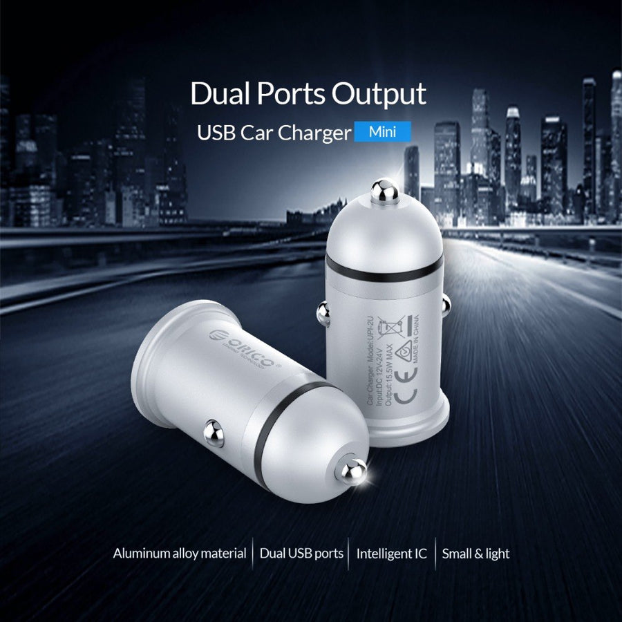 ORICO Mini USB Car Charger for Mobile Phone 2.1A Fast Charger Dual USB Port Car Charger Adpter for Tablet