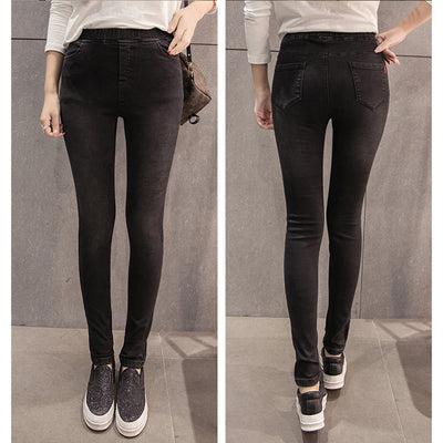 25f2899e01615 BIVIGAOS New Women's Jeans Leggings High Elastic Bleach Denim Pencil Pants  Black Casual Skinny Jeans Women