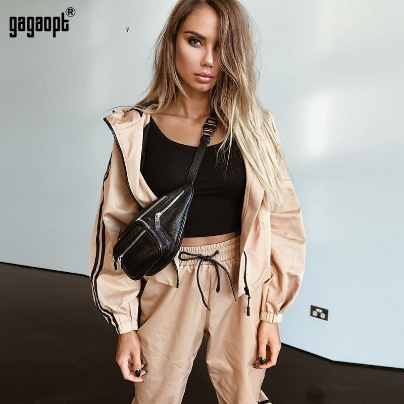 Gagaopt 2018 New Tracksuit Women Spring Autumn Casual 2 Pieces Suit (Hooded Sweatshirt+Long Pants) Zipper Leisure Suits Preorder