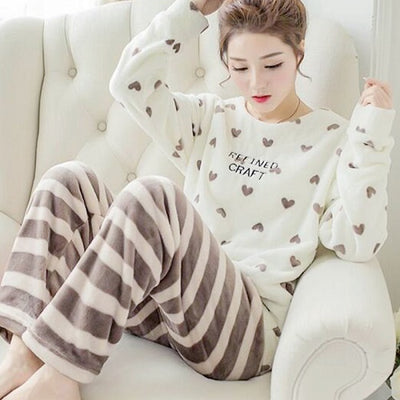 Autumn and Winter Women Pyjamas Sets Thick Warm Coral Velvet Suit Flannel  Long Sleeve Female Cartoon c42920280