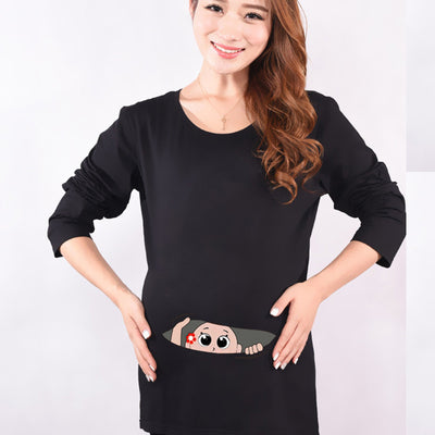 d945a378ad4 Autumn Maternity Funny Baby Peeking Out Shirts Black Cotton Pregnant Tops  Tees Clothes Premama Wear Clothing
