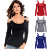 Autumn T-Shirt Women T Shirt Pullover Top 2017 Sexy Off The Shoulder Full Sleeve Slim Casual Women's T-Shirts T Shirts Tops