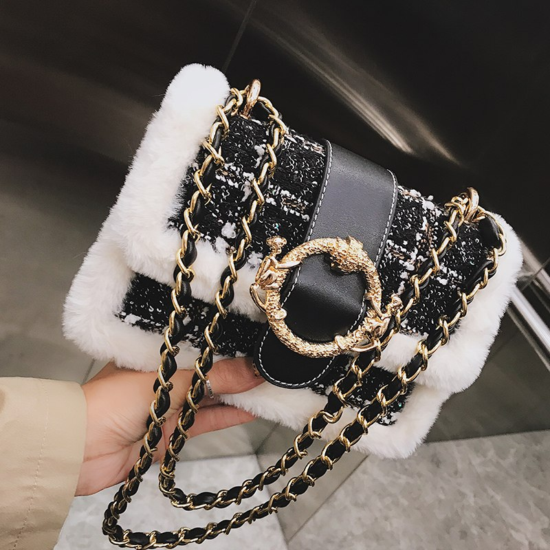 2018 Winter Fashion New Women's Designer Handbag Quality Woolen Stitching Plush Square bag Lock Chain Shoulder Messenger bags